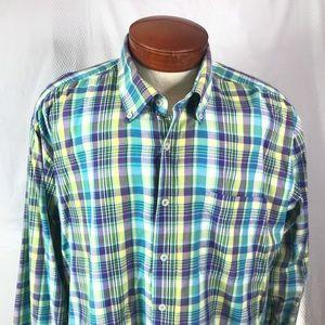 Men's Alan Flusser XXL Plaid Cotton LS Shirt